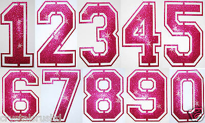 Fabric Glitter Sequin Pink Football Number Iron-On Bling Tshirt Transfer Patch