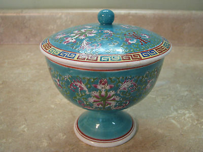 Japanese/Chinese/Asian CANDY DISH Footed w/Lid MADE IN JAPAN Hand-Painted VTG