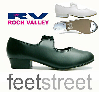 Rochvalley Black Low Heel Tap Shoes  attached Heel and Toe Taps Size  Ch6- Ad 8