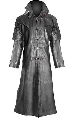 Mens 100% Pure Leather Goth / Steampunk Gothic Van Helsing Matrix Trench Coat
