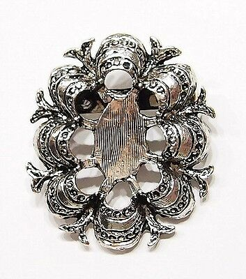 4 of 25x18 mm Antique Silver Plated Old Victorian Style Pin Settings, Very Nice