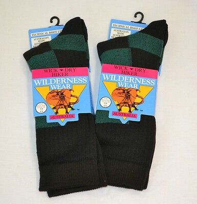 3 PAIR Wilderness Wear WICK DRY HIKER SOCKS rrp $83.- + FREE POST sz 12-15