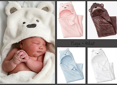 Newborn Baby Hooded Snuggle Blanket Wrap Swaddle Blue Pink White Teddy Fleece