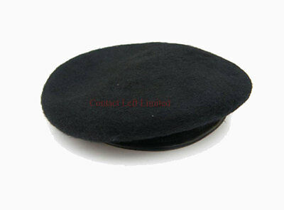 NEW Black Beret 100% Wool Leather Banded All sizes (British Army American SAS