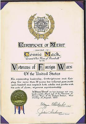 Connie Mack Certificate of Merit from Veterans of Foreign Wars