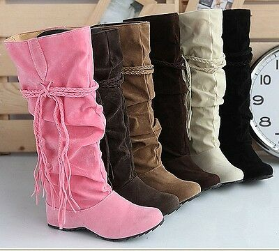2012 Fashion Women's Suede popular fashion fringed tip high boots casual 6 color