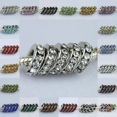 WHOLESALE LOTS COLORS CRYSTAL 3X10MM EUROPEAN SPACER CHARMS BEADS FIT BRACELETS