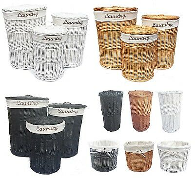 Brown Or White Wicker Round Laundry Basket Bin Toilet Brush Holder With Lining