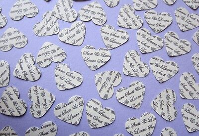180 + Personalised Wedding Heart Confetti, Vintage Ivory Table Gift Bride White