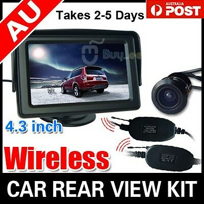"Car Rear View Kit 4.3"" Tft Lcd Monitor + Wireless Car Reversing Camera Au"