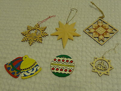 Set of 6 Ornaments Star Nativity Scene Bells Hand Painted Carved Burned STUNNING