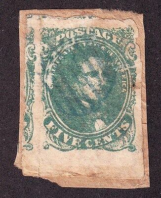 US Confederate CSA #1 5c Davis Used on Piece VF SCV $200