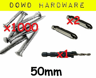 1000 50mm Decking Screws Stainless Coated Timber 10G Gauge Bugle head Quadrex