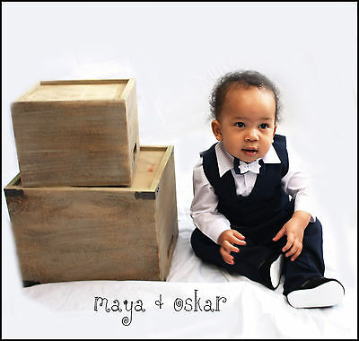 Baby Boys 4 Piece Navy Outfit Smart Suit Wedding Christening Baptism FormalParty
