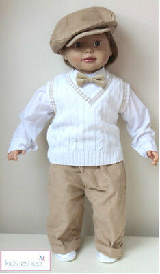 Baby Boy 5 Piece Smart Outfit Suit Cardigan Christening Wedding Party Beige