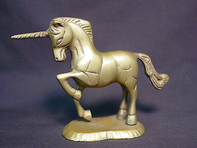 Old Vtg Brass Unicorn Horse Statue Metal Figure Mini Stand Handmade Doll Unique