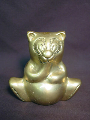 Old Vtg Brass Bear Koala Fat Teddy Statue Metal Doll Paperweight Winnie the Pooh
