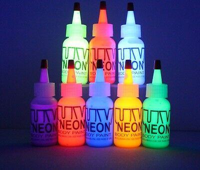 YELLOW UV Body Paint, NEON, FLUORESCENT,STAGE,RAVE,,FACE,BLACK LIGHT, PARTY