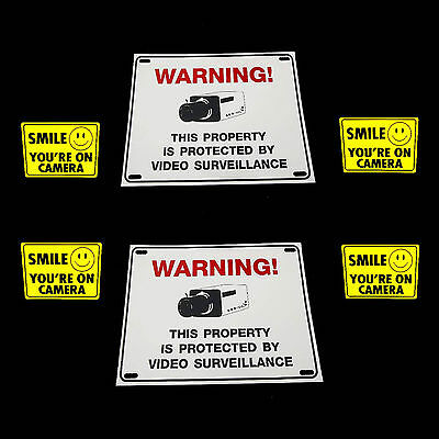 LOT OF 2 OUTDOOR SURVEILLANCE SECURITY VIDEO CAMERAS WARNING YARD SIGNS+STICKERS