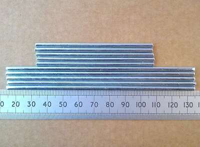 Qty 10 : 3mm Metal Gearbox Shaft / Axle for Cogs or Pulleys, 75 or 120mm Length