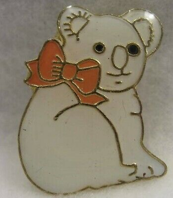 Koala Bear Lapel Pin all white W/peach Bow new!!