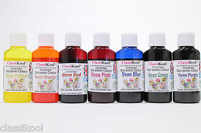 Classikool 30g Neon Gel Food Colouring Sugarpaste/ Icing Paste: Any 1, 3, 5 or 7