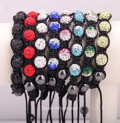 New Stylish 1PC High Quality Disco Ball Clear Crystal Beads Adjustable Bracelet
