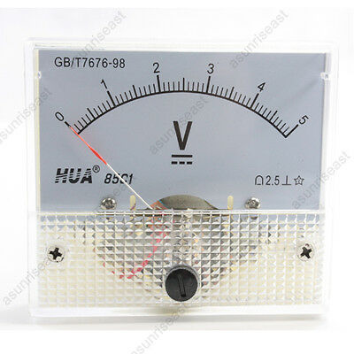 1 × DC 5V Analog Panel Volt Voltage Meter Voltmeter Gauge 85C1 White 0-5V DC