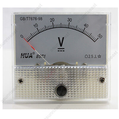 1 × DC 50V Analog Panel Volt Voltage Meter Voltmeter Gauge 85C1 White 0-50V DC