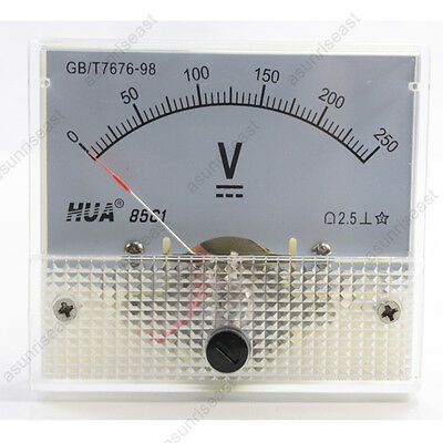 1 × DC 250V Analog Panel Volt Voltage Meter Voltmeter Gauge 85C1 White 0-250V DC