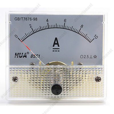 1×DC 10A Analog Panel AMP Current Meter Ammeter Gauge 85C1 White 0-10A DC