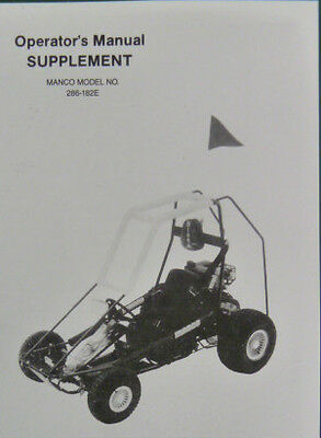 MANCO MODEL 608-02 609-02 Go Kart Parts List Operators Manual Cart on