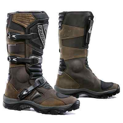 Forma Adventure motorcycle boots, mens, brown, black waterproof adv touring gear