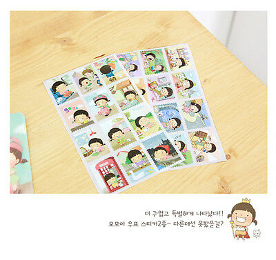 Korean Wannathis Momoi Cute Little Girl Album Diary DIY Stamp Stickers X2 Sheets