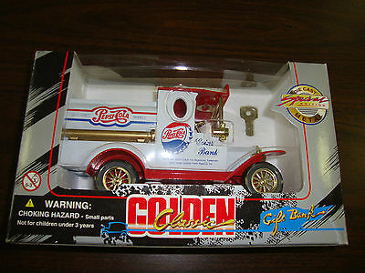 """Pepsi-Cola---Golden Classic---Diecast Coin Bank With Key---6"""" Long---1996"""