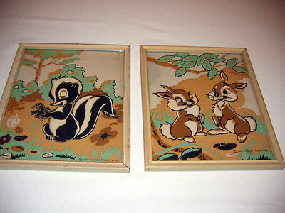 Two Old Vintage Glow-in-the-Dark Walt Disney Pictures of 2 bunnies and a skunk