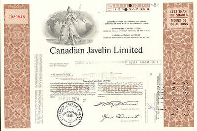 Canadian Javelin Limited > brown mining stock certificate