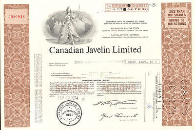 Canadian Javelin Limited   brown mining stock certificate