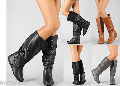 25932b07ca590 Women's Fashion Mid Calf Knee High Slouch Comfort Casual Flat Boot Shoes  Size 7