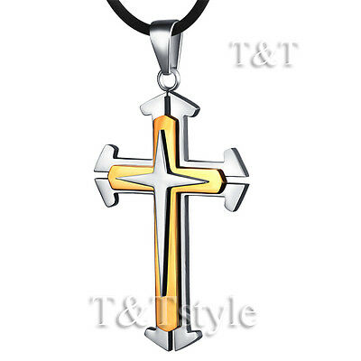 T&T 316 Two-tone Gold Stainless Steel Cross Pendant Necklace (CP76)