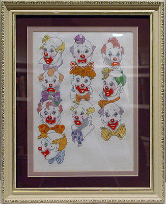 Vintage Hand Embroidered Sampler Of Clowns Matted & Framed Excellent Condition
