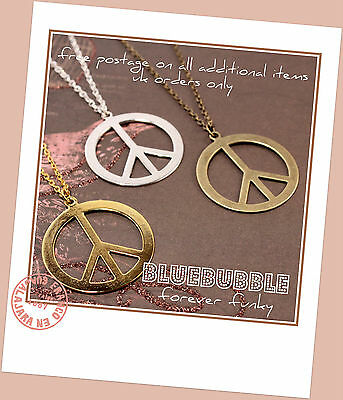 Funky Large Peace Sign Necklace Cute Kitsch Retro Vintage Style Festival Boho