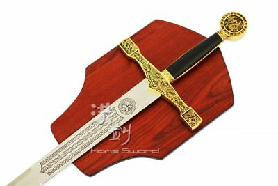 "45"" Golden Excalibur King Medieval Crusader Sword with Wall Plaque Brand New"