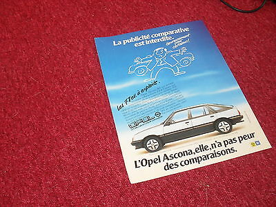 Publicité magazine / French Advertising  OPEL Ascona 1982 //