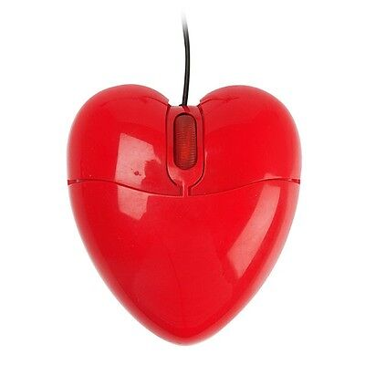 Red Love Heart Shape USB PC Computer Wired Optical Mouse