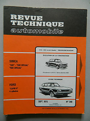 "RTA revue technique automobile comme neuf  n 348 FORD ""Capri II"" 4 cylindres"