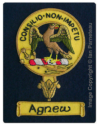 Agnew Family Crest Hand Embroidered Sew-On Blazer Badge