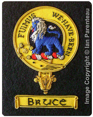 Bruce Family Crest Hand Embroidered Sew-On Blazer Badge