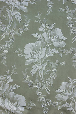 Vintage French TICKING fabric Art Deco / Art Nouveau floral damask YARDAGE bolt