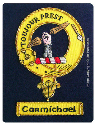 Carmichael Family Crest Hand Embroidered Sew-On Blazer Badge